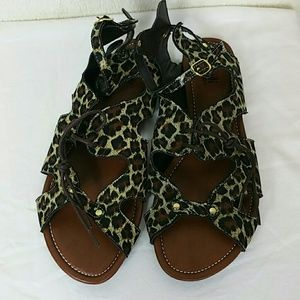 5/$25 Kali animal print sandals with ankle strap